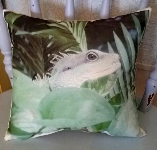 Handmade Iguana Lizard Reptile Wildlife Pillow