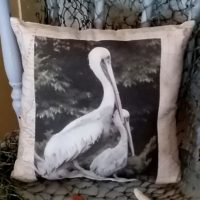 Vintage Inspired Pelican Nautical Map Pillow