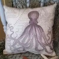Vintage Inspired Purple Octopus Nautical Map Pillow