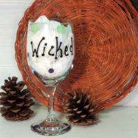 Hand Painted Wicked Witch Halloween Wine Glass