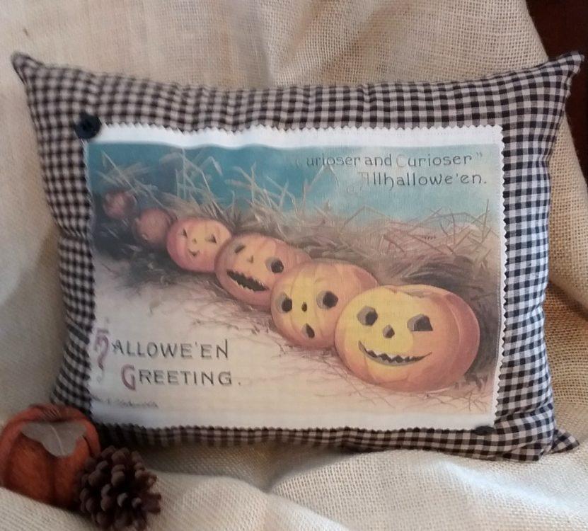 Handmade Vintage Victorian Jack O'Lantern Pumpkin Patch Halloween Pillow Country Decor