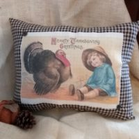 Handmade Vintage Victorian Thanksgiving Pillow Country Decor