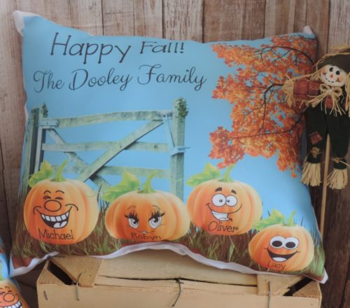 Personalized Pumpkin Patch Family Pillow Fall Decor