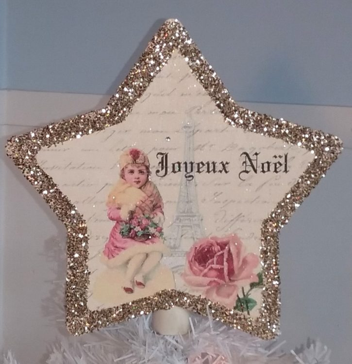 French Country Vintage Eiffel Tower French Inspired Christmas Tree Topper