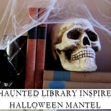 A Spooky DIY Haunted Library Inspired Halloween Mantel