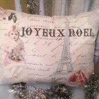 Handmade Paris Inspired French Christmas Pillow Joyeux Noel