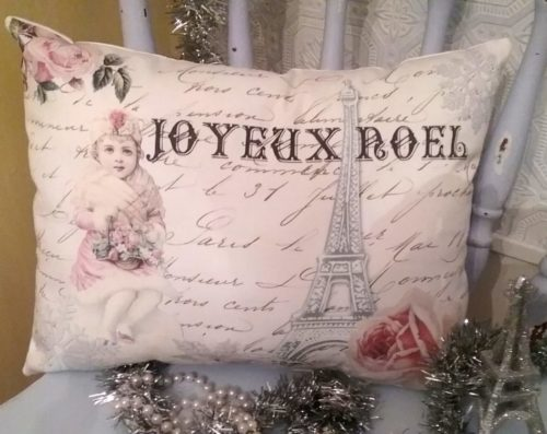Handmade Paris Inspired French Christmas Pillow Joyeux Noel