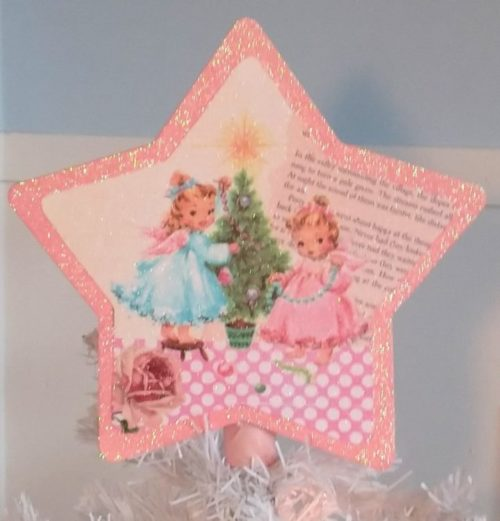 Shabby Pink Vintage Kitsch Angels Christmas Tree Topper