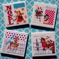 Handmade Retro Vintage Kitsch Christmas Coaster Set