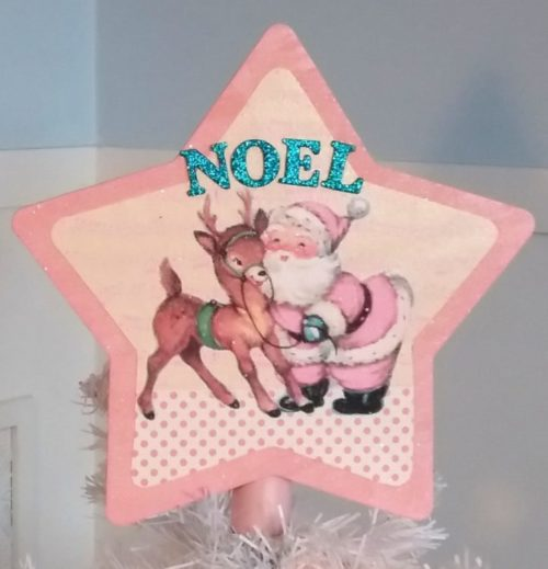 Shabby Chic Pink Santa and Reindeer Christmas Tree Topper