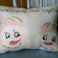 Handmade Snow Friends Stick Together Snowman Gift Pillow