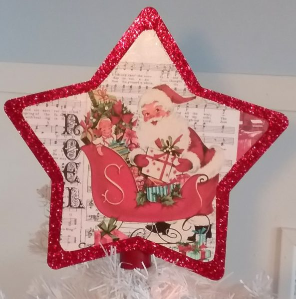 Vintage Inspired Santa Claus Christmas Tree Topper