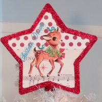 Handmade Vintage Inspired Retro Reindeer Christmas Tree Topper