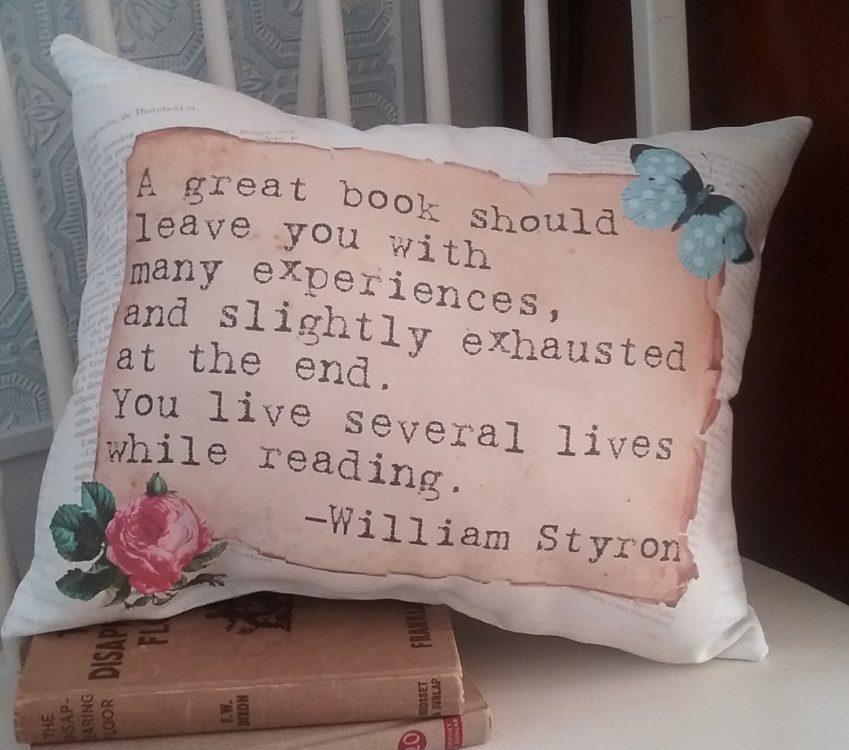Handmade Vintage Inspired Book Lover's Gift Pillow