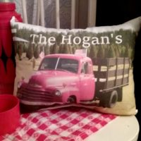 Personalized Vintage Farm Truck Farmhouse Country Pillow