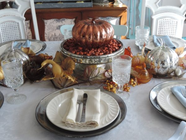 Mercury Glass Thanksgiving Tablescape