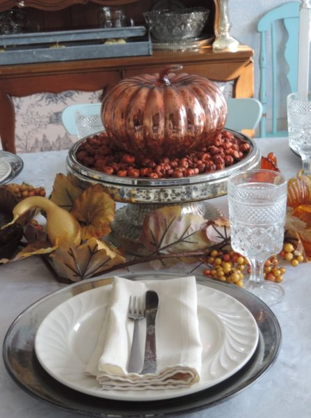 Thanksgiving Centerpiece With Mercury Glass