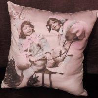 Handmade Sepia Vintage Victorian Christmas Pillow