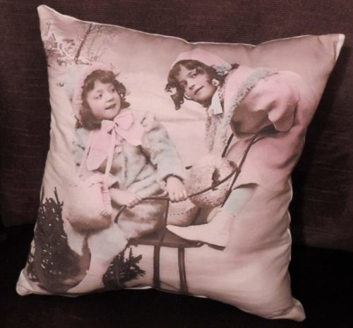 Vintage Victorian Christmas Pillow Little Girls on a Sled