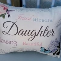 Sentimental Daughter Gift Pillow with Rose, Butterfly and Hydrangea