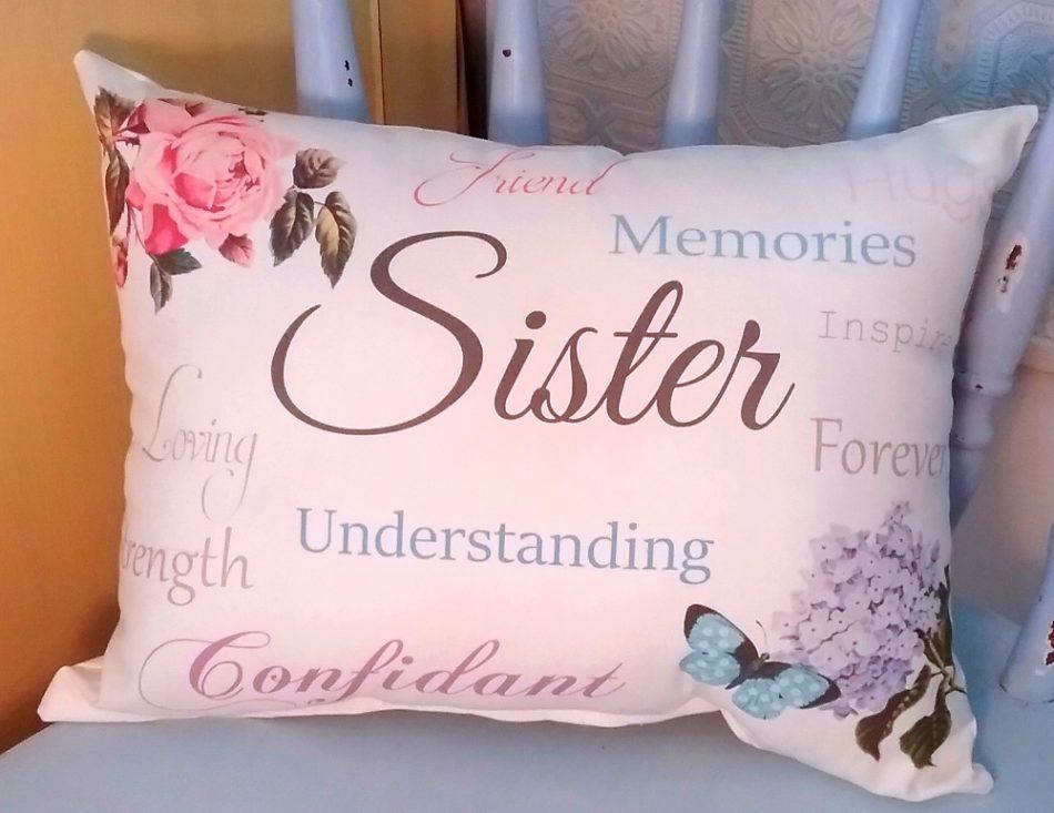 Sentimental Sister Gift Pillow Sister Birthday Gift