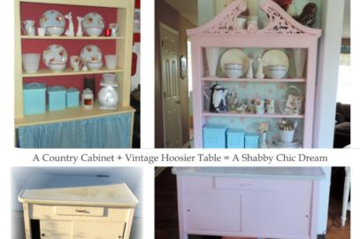 A Vintage Hoosier Cabinet Gets A Shabby Chic Pink Makeover