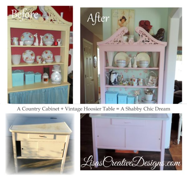 A Vintage Hoosier Table Gets A Shabby Chic Pink Makeover