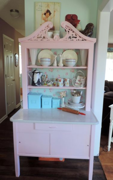 Shabby Chic Pink Vintage Hoosier Table Makeover