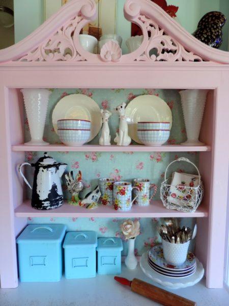 Shabby Chic Pink Kitchen Cabinet Hutch