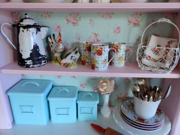 Pink Shabby Chic Hoosier Cabinet