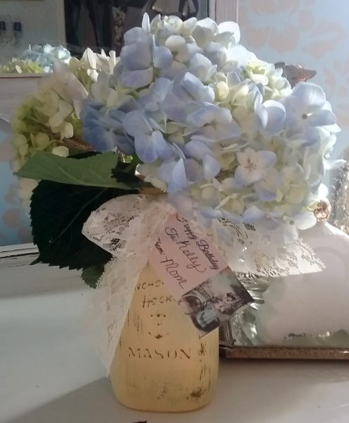 Shabby Chic Mason Jar Floral Arrangement Birthday Gift