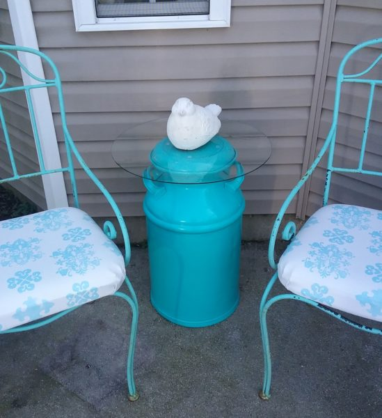 A Repurposed Milk Can Side Table