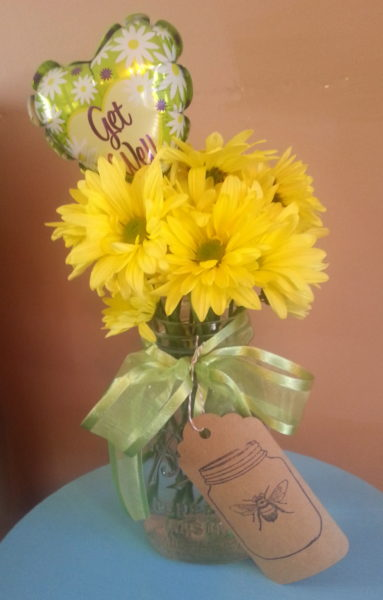 Mason Jar Floral Arrangement Get Well Gift
