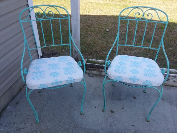Outdoor Chairs With Painted and Stenciled Fabric Seat Cushions