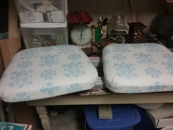 Painted and Stenciled Fabric Seat Cushions For A Outdoor Chairs