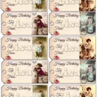 Printable Vintage Victorian Shabby Chic Birthday Gift Tags Digital Download