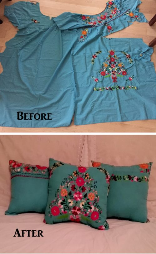 Before and After Pillow Made From Deceased Mothers Dress