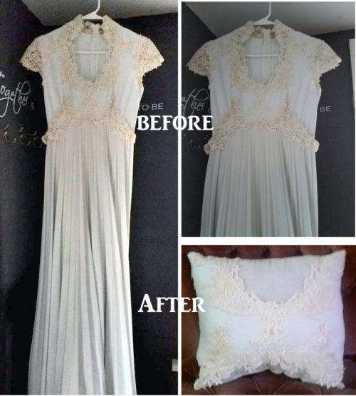 Before and After Pillow Made From Wedding Dress