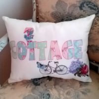 Patchwork COTTAGE Word Pillow