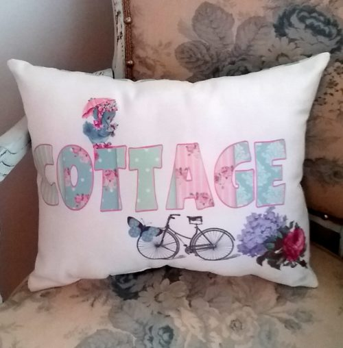 Handmade Cottage Word Pillow with BlueBird, Bike and Flowers