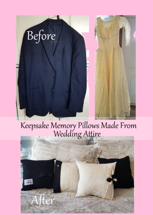 Custom Keepsake Memory Pillows Made From Wedding Gown and Suit