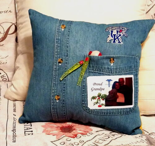 Custom Memory Pillow Made From Grandfathers Shirts With Photo