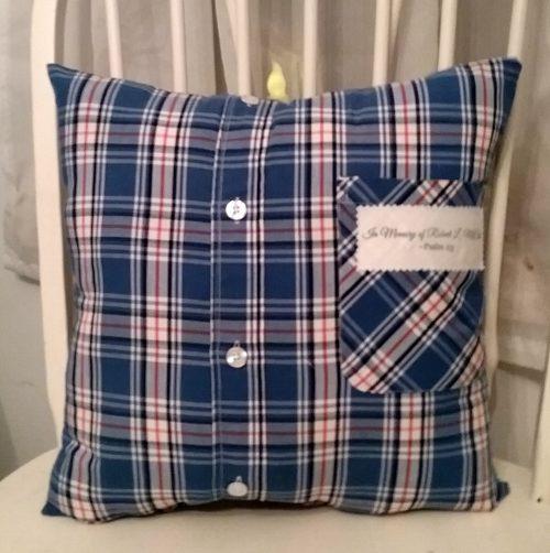 Custom Memory Pillow Made From Mans Shirt