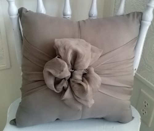 Gray Pillow Made From Gown