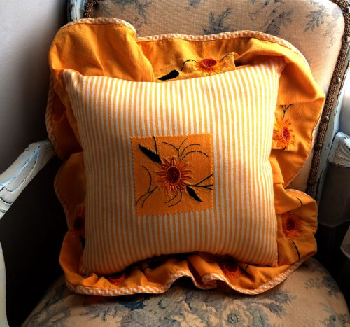 Memory Pillow Made From Sun Dress With Ruffles
