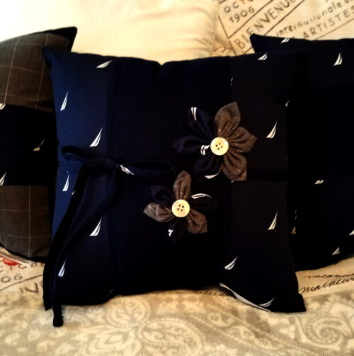Memory Pillow With Handmade Flowers and Bow