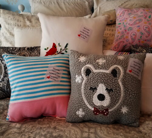 Memory Pillows Made From Clothing with Patches