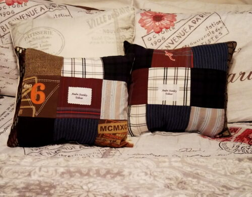Patchwork Memory Pillow Made From Clothing