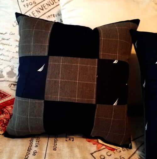 Patchwork memory pillow made from pajama bottoms