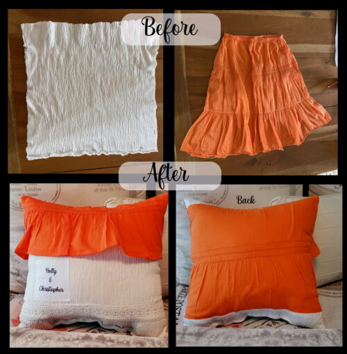 Shirt and Skirt Memory Pillow Before and After
